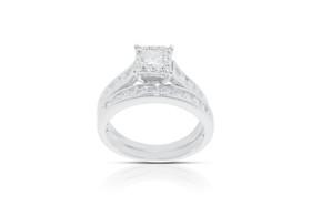 14K White Gold Diamond Engagement and Wedding Band Ring Sets