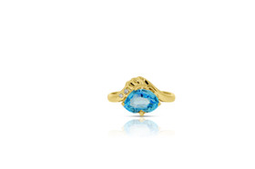 10K Yellow Gold Diamond Blue Topaz Ring by Shin Brothers Jewelers Inc.