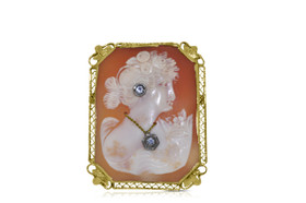 14K Yellow Gold Cameo Pendant and Pin by Shin Brothers Jewelers Inc.