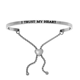"Stainless Steel ""I TRUST MY HEART"" Diamond Adjustable Friendship Bracelet"