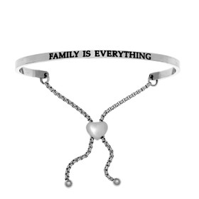 "Stainless Steel ""FAMILY IS EVERYTHING"" Diamond  Friendship Bracelet"