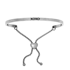 "Stainless Steel ""XOXO"" with 0.005ct. Diamond Adjustable Friendship Bracelet by Shin Brothers Jewelers Inc."