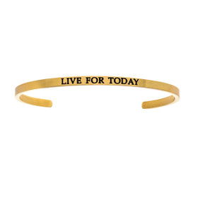 "Stainless Steel ""LIVE FOR TODAY""  0.005ct. Diamond Bangle by Shin Brothers Jewelers Inc."