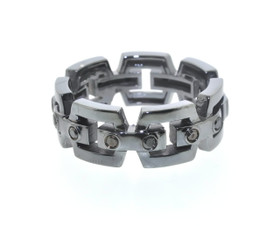14K White Gold Black Rhodium Black Diamond Band by Shin Brothers Jewelers Inc.