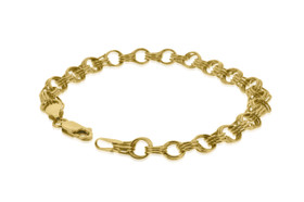 14K Yellow Gold Charm Link Bracelet by Shin Brothers Jewelers Inc.