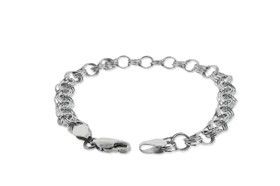 14K White Gold Charm Link Bracelet by Shin Brothers Jewelers Inc.
