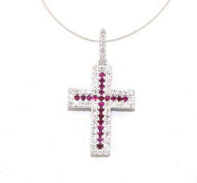 14K White Gold Diamond Ruby Cross Charm By Shin Brothers Jewelers Inc.