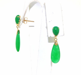14K Yellow Gold Natural Jade Earrings By Shin Brothers Jewelers Inc.