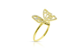 14K Yellow Gold Diamond Butterfly Ring By Shin Brothers Jewelers Inc.