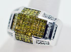 14K White Gold Men's White Diamond And Enhanced Yellow Diamind Ring  11001512
