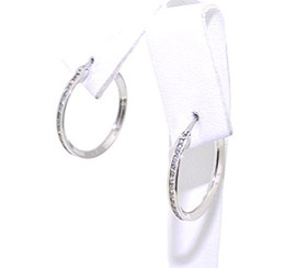 14K White Gold cubic zirconia Hoop Earrings 42001572 By Shin Brothers Jewelers Inc