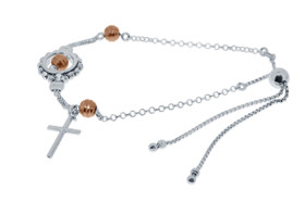 Sterling Silver and Rose Gold Plated Bead and Cross Adjustable Beads Bracelet by Shin Brothers Inc.