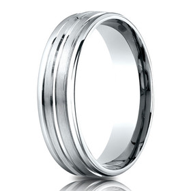 14K White Gold 6.5 mm Wedding Band By Shin Brothers Jeweler Inc.