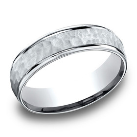 14k White Gold Light Comfort 6.5mm High Polish Edge Hammered Center Design Band  By Shin Brothers Jeweler Inc.