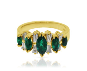14K Yellow Gold Diamond and Emerald Ring by Shin Brothers Jewelers Inc.