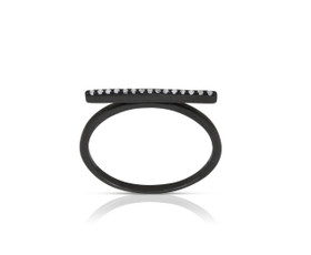 14K Black Gold Diamond Bar Ring by Shin Brothers Jewelers Inc.