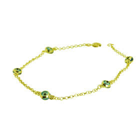 "14K Yellow Gold 7"" Light Blue Evil Eye Bracelet"