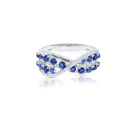 14K White Gold Diamond Sapphire Criss Cross Ring  by Shin Brothers Jewelers Inc.