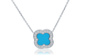 "14k White Gold 18"" Diamond And Turquoise Four Leaf Clover Necklace By Shin Brothers Jewelers Inc."