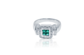 18K White Gold Antique Style Emerald And Diamond  Ring  by Shin Brothers Jewelers Inc.
