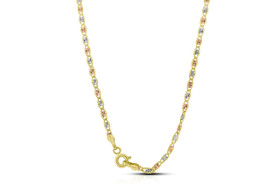 14K Tricolor Gold 24-inch Diamond Cut Marine Chain  30002678