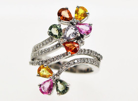 12001156 18K White Gold Fancy Gemstone and Diamond Ring