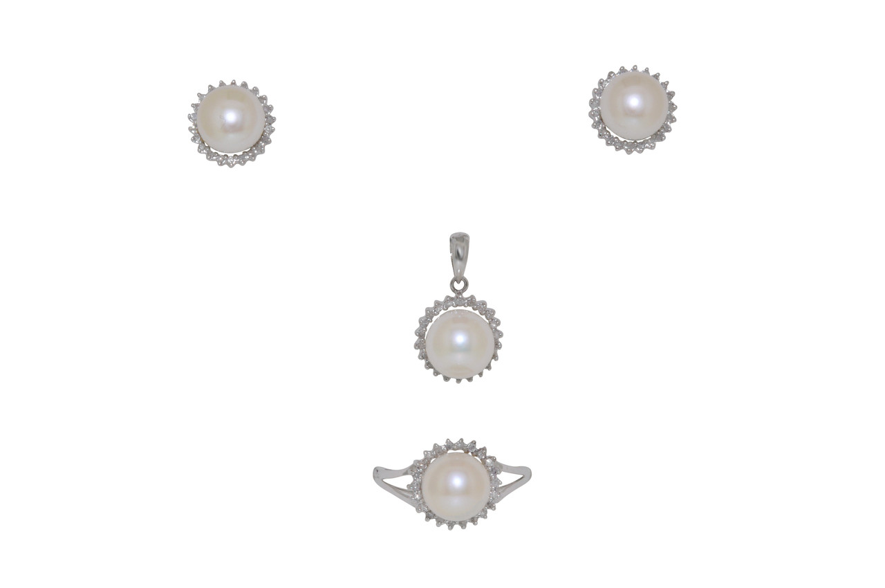 16ca270a5071b9 ... 14k White Gold 7 mm Fresh Water Pearl Earrings Ring and Pendant Set By  Shin Brothers Inc. Image 1