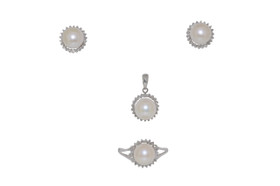 14k White Gold 7 mm Fresh Water Pearl Earrings Ring and Pendant Set By Shin Brothers Inc.