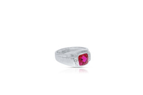 10K White Gold Synthetic Ruby Ring by Shin Brothers INC. 19000216
