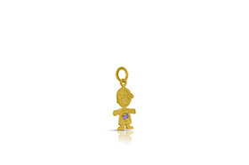 14K Yellow Gold Cubic Zirconia Boy Pendant with Synthetic purple stone 52001883