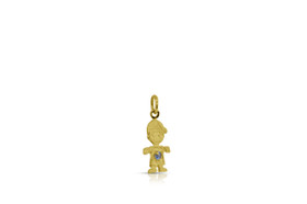14K Yellow Gold Cubic Zirconia Boy Pendant with Synthetic Blue stone 52001884