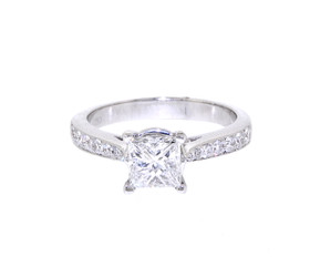 18K White Gold  Princess Cut 1.01ct Diamond  Engagement Ring-R
