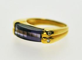 14K Yellow Gold Amethyst and Diamond Ring 12000605
