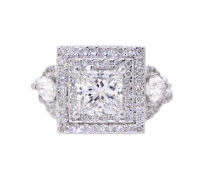 18K White Gold 1.52ct Princess Cut Diamond Engagement Ring by Shin Brothers Jewelers Inc.11005454