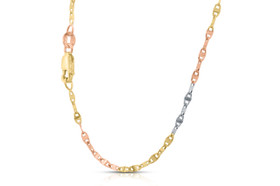14k Tri-color Gold Fancy Mariner Link Chain 30002711-E