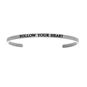 "Stainless Steel ""Follow Your Heart""  Diamond Cuff Bangle by Shin Brothers Jewelers Inc."