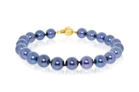 14K Yellow Gold Natural Dyed Pearl Bracelet by Shin Brothers Jewelers Inc.
