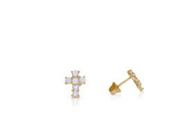 14K Yellow Gold CZ Screw Back Studs Cross Earrings By Shin Brothers Jewelers Inc 42002755