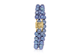 14K Yellow Gold Double Strand Natural Dyed Pearl Bracelet by Shin Brothers Jewelers Inc.