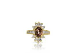 14K Yellow Gold Diamond Bi-color Tourmaline Diamond Ring