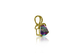 14K Yellow Gold Mystic Topaz Trillion Cut Fancy Set Pendant
