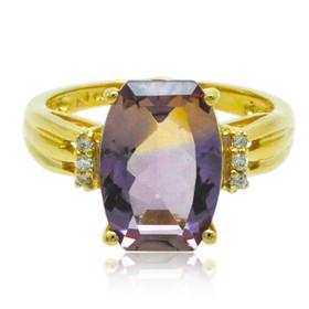 14K Yellow Gold Amethyst Diamond Ladies Ring