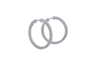 Silver CZ Hoops With Safety Lock