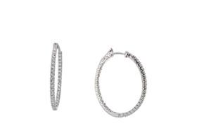 14K White Gold CZ Safety Latch Back Hoop Earrings  42002775