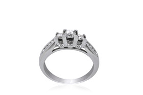 14K White gold 3 Diamond Engagement Ring 11005606