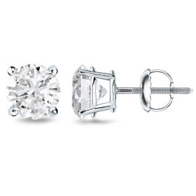 14K White Gold GIA Certified 1.03 Carat Diamond Studs Earrings