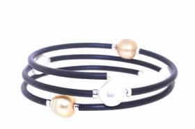 Sterling Silver Tahitian Pearl Rubber Flexiale Bracelet  82010602