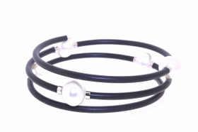Sterling Silver White Tahitian Triple Rubber Flexible Bracelet 82010606