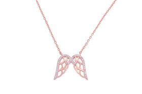 Sterling Silver Rose Gold Plated Silver CZ Angel Wings Necklace