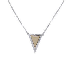 Sterling Silver Yellow Triangle CZ Necklace
